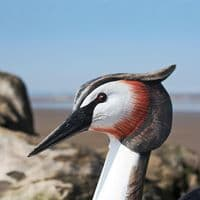 Great Crested Grebe & Chicks Wooden Bird Carving